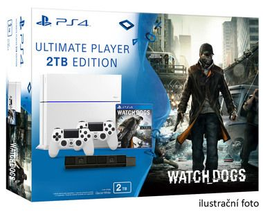 SONY PlayStation 4 - 2TB White CUH-1216A + Watch dogs + camera + 2x Dualshock