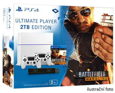 SONY PlayStation 4 - 2TB White CUH-1216A + Battlefield Hardline Deluxe edition + camera + 2x Dualshock
