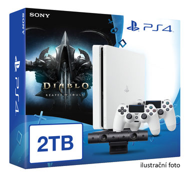 SONY PlayStation 4 - 2TB White CUH-2016 + Diablo III: Ultimate Evil Edition + camera + 2x Dualshock