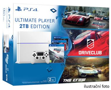 SONY PlayStation 4 - 2TB White CUH-1216A + NFS Rivals + Driveclub + The Crew