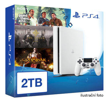 SONY PlayStation 4 - 2TB White CUH-2016 + GTA V + The Order + God of War 3 Remastered
