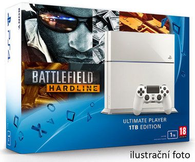 SONY PlayStation 4 - 1TB White CUH-1216A + Battlefield Hardline Deluxe edition