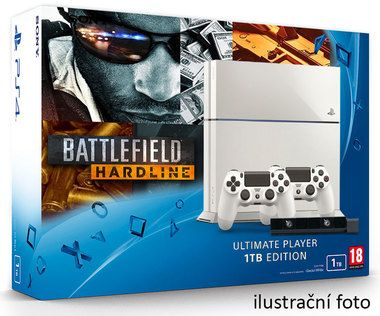SONY PlayStation 4 - 1TB White CUH-1216A + Battlefield Hardline Deluxe edition + camera + 2x Dualshock