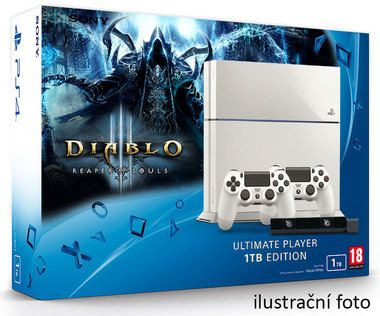 SONY PlayStation 4 - 1TB White CUH-1216A + Diablo III: Ultimate Evil Edition + camera + 2x Dualshock