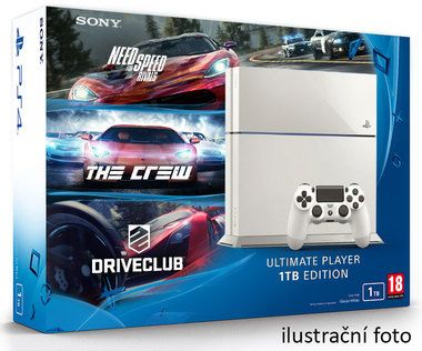 SONY PlayStation 4 - 1TB White CUH-1216A + NFS Rivals + Driveclub + The Crew