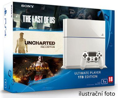 SONY PlayStation 4 - 1TB White CUH-1216A + Uncharted Collection + The Last of Us + God of War 3