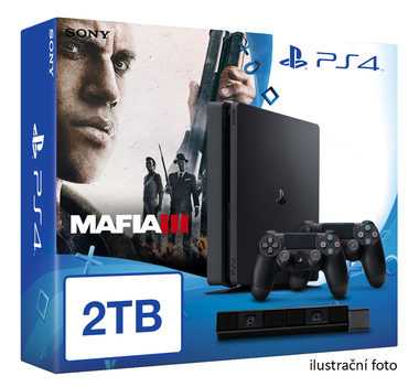 SONY PlayStation 4 - 2TB slim Black CUH-2016 + Mafia III + camera + 2x Dualshock