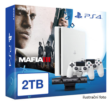 SONY PlayStation 4 - 2TB White CUH-2016 + Mafia III + camera + 2x Dualshock