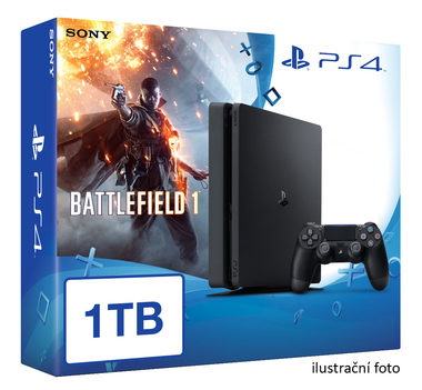 SONY PlayStation 4 - 1TB slim Black CUH-2016B + Battlefield 1 + camera + 2x Dualshock