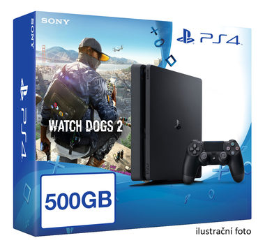 SONY PlayStation 4 - 500GB Slim Black CUH-2016A + Watch Dogs 2