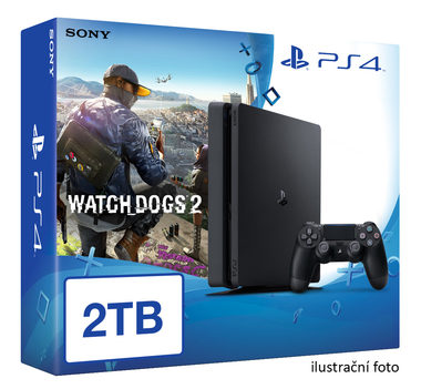 SONY PlayStation 4 - 2TB slim Black CUH-2016 + Watch Dogs 2