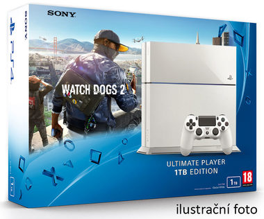 SONY PlayStation 4 - 1TB White CUH-1216A + Watch Dogs 2