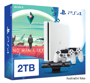 SONY PlayStation 4 - 2TB White CUH-1216A + No Man's Sky + camera + 2x Dualshock