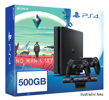 SONY PlayStation 4 - 500GB Slim Black CUH-2016A + No Man's Sky + camera + 2x Dualshock