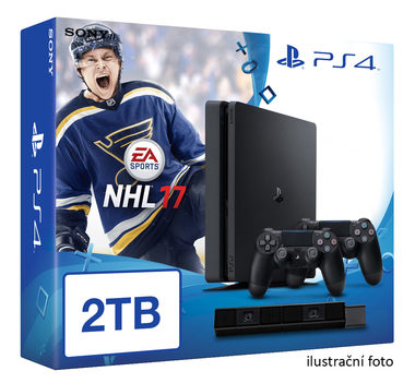 SONY PlayStation 4 - 2TB slim Black CUH-2016 + NHL 2017 + camera + 2x Dualshock