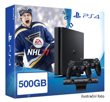 SONY PlayStation 4 - 500GB Slim Black CUH-2016A + NHL 2017 + camera + 2x Dualshock