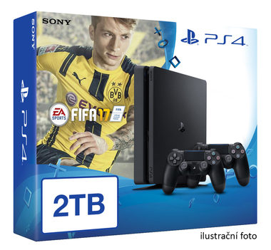 SONY PlayStation 4 - 2TB slim Black CUH-2016 + FIFA 2017 + 2x Dualshock