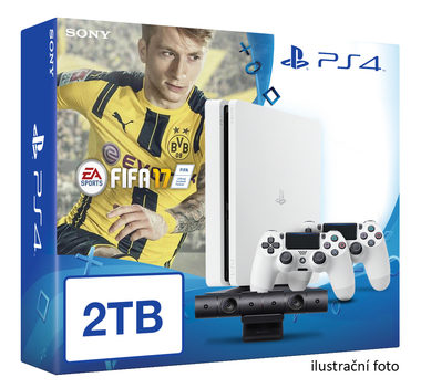 SONY PlayStation 4 - 2TB White CUH-1216A + FIFA 2017 + camera + 2x Dualshock