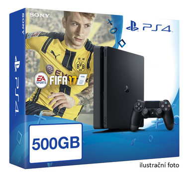 SONY PlayStation 4 - 500GB Slim Black CUH-2016A + FIFA 2017