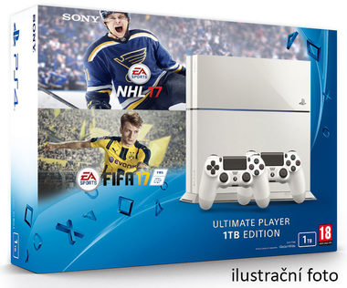 SONY PlayStation 4 - 1TB White CUH-1216A + NHL 2017 + FIFA 2017 + 2x Dualshock