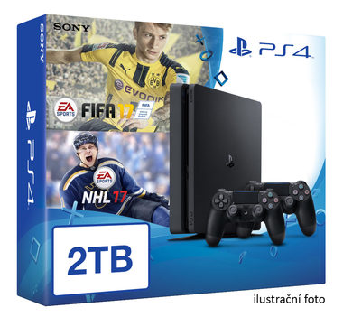 SONY PlayStation 4 - 2TB slim Black CUH-2016 + NHL 2017 + FIFA 2017 + 2x Dualshock