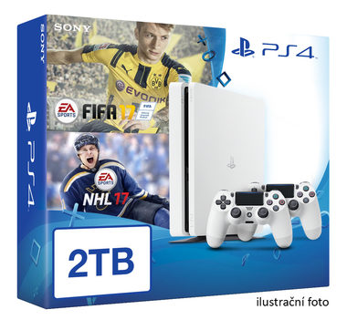 SONY PlayStation 4 - 2TB White CUH-2016 + NHL 2017 + FIFA 2017 + 2x Dualshock