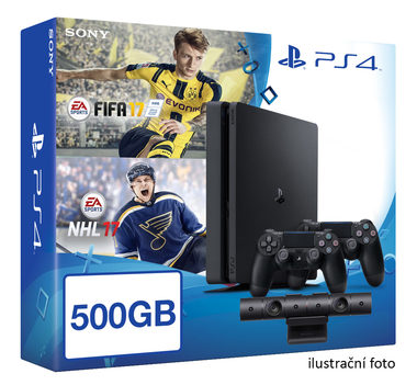 SONY PlayStation 4 - 500GB Slim Black CUH-2016A + NHL 2017 + FIFA 2017 + 2x Dualshock