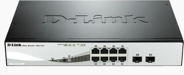 D-Link DGS-1210-08P / 8-Port PoE Gigabit Smart Switch / 6x gigabit RJ45 / 2x gigabit RJ45/SFP / Fanless
