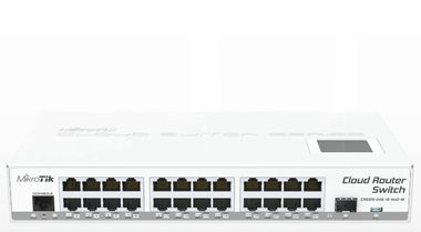 MikroTik CRS125-24G-1S-IN / Cloud Router Switch / Atheros AR9344 CPU / 128MB RAM / 24xGigabit LAN / 1xSFP / RouterOS L5 / LCDpanel