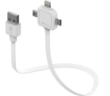 PowerCube POWER USB CABLE / USB kabel  / miniUSB / microUSB / Apple Lightning / bílá