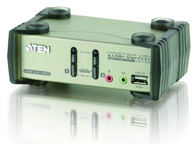 ATEN 2-port KVMP USB+PS2 / usb hub / audio / OSD / 1.2m kabely