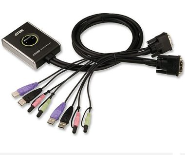 ATEN 2-port DVI KVMP USB2.0 /  mini / audio / 1.2m kabely
