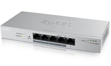 ZyXEL GS1200-5HP / 5-port Desktop Gigabit Web Smart switch / 5x Gigabit metal / 4x PoE (802.3at / 30W) / PoE 60W