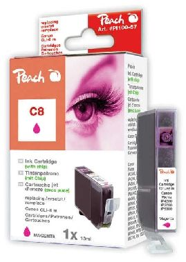 PEACH kompatibilní cartridge Canon CLI-8M, Magenta, 14 ml