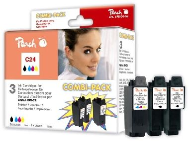 Peach BCI-24 alternativní cartridge /  2x9, 1x15 ml / CombiPack