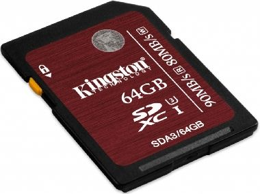 Kingston SDHC UHS-I karta 64GB  /  Flash Karta / Speed Class 3 Flash Card / 90MB/s čtení / 80MB/s zápis