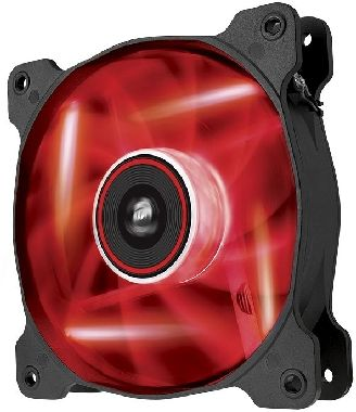 Corsair AF120 LED Red Quiet Edition / 120 mm / Hydraulic Bearing / 25.2 dB @ 1500 RPM / 88.7 m3h / 3-pin