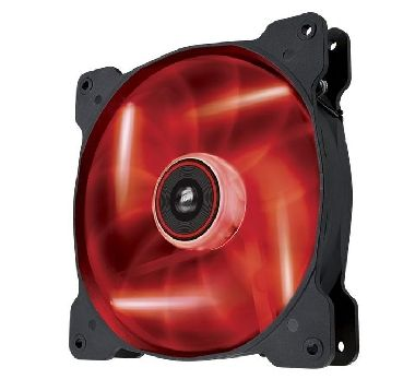 Corsair AF140 LED Red Quiet Edition / 140 mm / Hydraulic Bearing / 25.5 dB @ 1200 RPM / 112.8 m3h / 3-pin