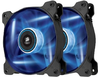 Corsair AF120 LED Blue Quiet Edition Twin Pack / 2x 120 mm / Hydraulic Bearing / 25.2 dB @ 1500 RPM / 88.7 m3h / 3-pin
