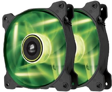 Corsair SP120 LED Green Twin Pack / 2x 120 mm / Hydraulic Bearing / 26 dB @ 1650 RPM / 97.3 m3h / 3-pin