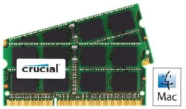 Crucial 8GB / 2x4GB / DDR3L SO-DIMM / 1333MHz / PC3-10600 / CL9 / 1.35V/1.50V / Dual Voltage / pro Apple/Mac