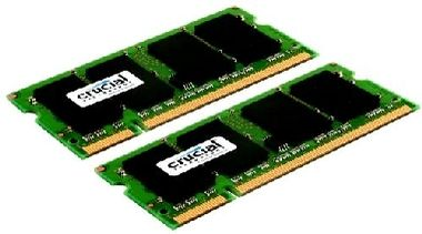 CRUCIAL 2GB / 2x1GB / DDR2 SO-DIMM / 667MHz / PC2-5300 / CL5 / 1.80V