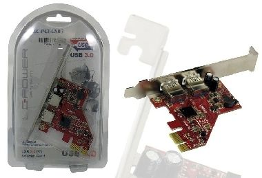 LC Power USB 3.0 PCI adaptér / 1x PCIe / 2x USB 3.0
