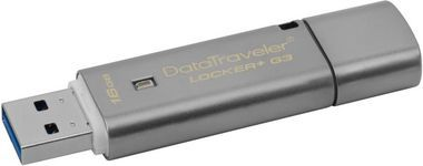 Kingston DataTraveler Locker+ G3 16GB / Flash Disk / USB 3.0 / HW šifrování / Stříbrný