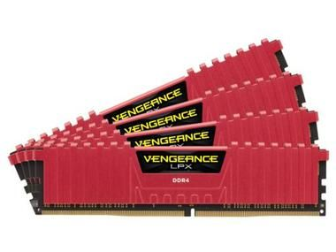 Corsair Vengeance LPX 16GB (Kit 4x4GB) / 3000MHz / DDR4 / CL15 / DIMM / 1.35V / červený