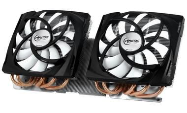 ARCTIC Accelero Twin Turbo 6990 / TDP 400W / 2x 120 mm / Fluid Dynamic Bearing / 0.4 Sone @ 1500 RPM / Radeon 6990