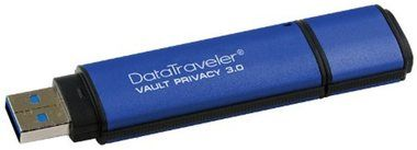 Kingston DataTraveler Vault Privacy 3.0 16GB / Flash Disk / USB 3.0 / 256bit AES plné šifr. / hliník