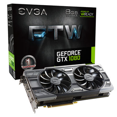EVGA GeForce GTX 1080 FTW GAMING ACX 3.0 / 1721-1860MHz / 8GB D5X 10GHz / 256-bit / DVI, HDMI, 3x DP / 375W (8+8)