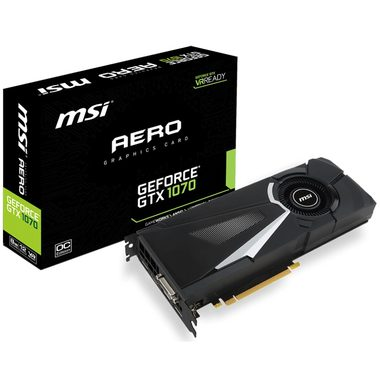 MSI GeForce GTX 1070 AERO 8G OC / 1531-1721MHz / 8GB D5 8GHz / 256-bit / DVI, HDMI, 3x DP / 225W (8)