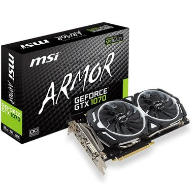 MSI GeForce GTX 1070 ARMOR 8G OC / 1556-1746MHz / 8GB D5 8GHz / 256-bit / DVI, HDMI, 3x DP / 225W (8)
